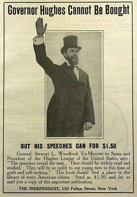 Advertising-print 1908 Advertising Governor Hughes Speech The Independent 130 Fulton St New York