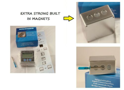 0-360° Digital Box Gauge Angle Protractor Level Inclinometer Magnetic Base