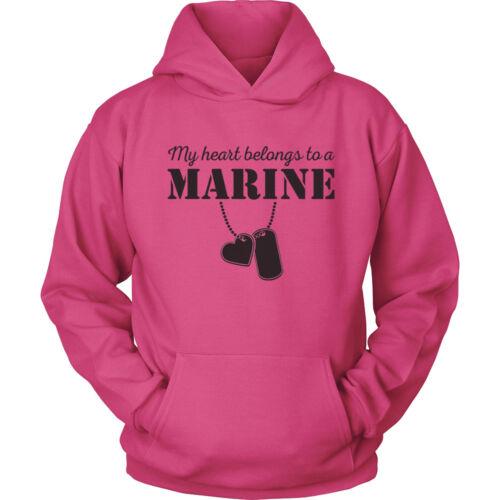 USMC Hoodie My Heart Belongs to a Marine Corps USMC Girlfriend Wife Hoodie