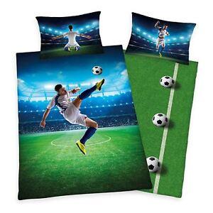 Football-Velo-Kick-Set-Housse-de-Couette-Simple-100-Coton-Reversible-Literie