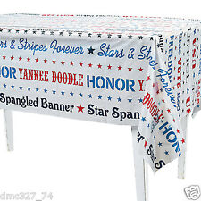 """4th of July Summer Party Decoration Plastic PATRIOTIC WORD TABLE COVER 54""""x 108"""""""