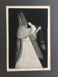 "Joseph Anthony Mugnaini (1912-1992) Etching Print ""The Prelate"" AP/30, Signed"