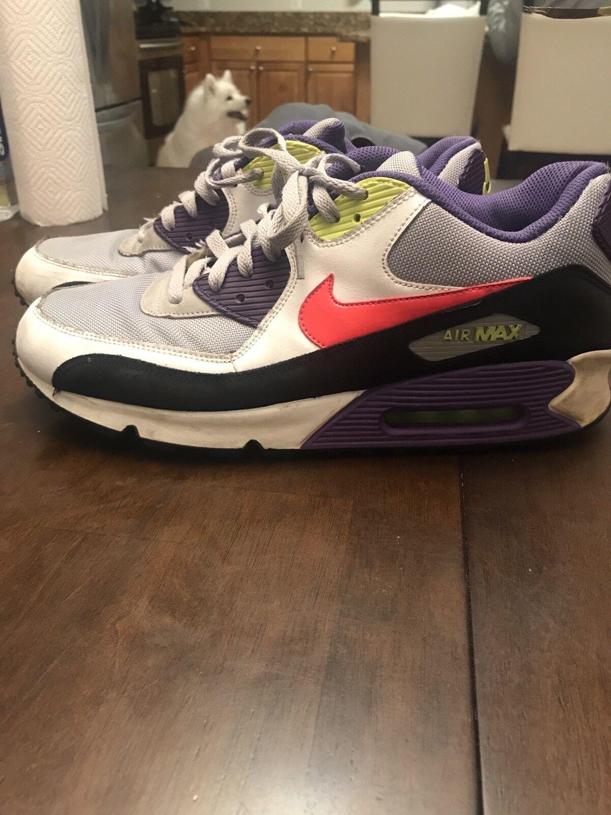 Nike Air Max 90 I Am The Rules 325018 024 Wolf Grey Solar Red Purple Volt Sz 12