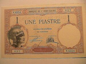 1927-1-Piastre-Original-Choice-CU-Gem-French-Indochina-Paper-Money-Currency-P48b