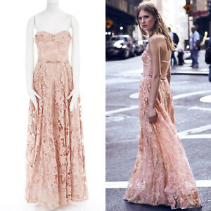 Details About New Marchesa Notte Pink Sequins Embroidery Lace Belted Gown Dress Us6 M