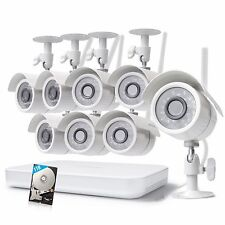 Zmodo 1080p 8CH WiFi NVR 8 Wireless IP Video Camera Home Security System 1TB HDD