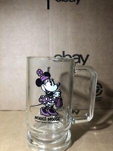 Vintage Walt Disney Productions Minnie Mouse Purple Dress Glass Mug 12 oz