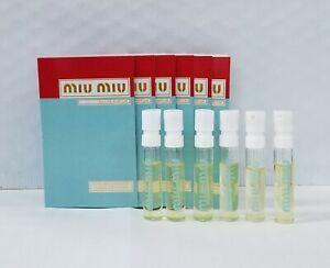 6 X Miu Miu Eau de Parfum Women Perfume Spray Vial Carded Sample .04 oz/1.2 ml