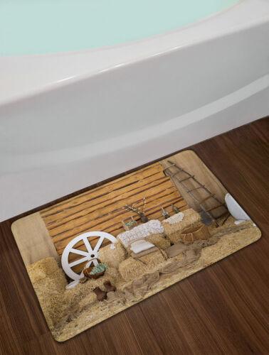 Rustic Wood Barn Decor Hay Retro Ladder Fabric Shower Curtain Set Bathroom Decor