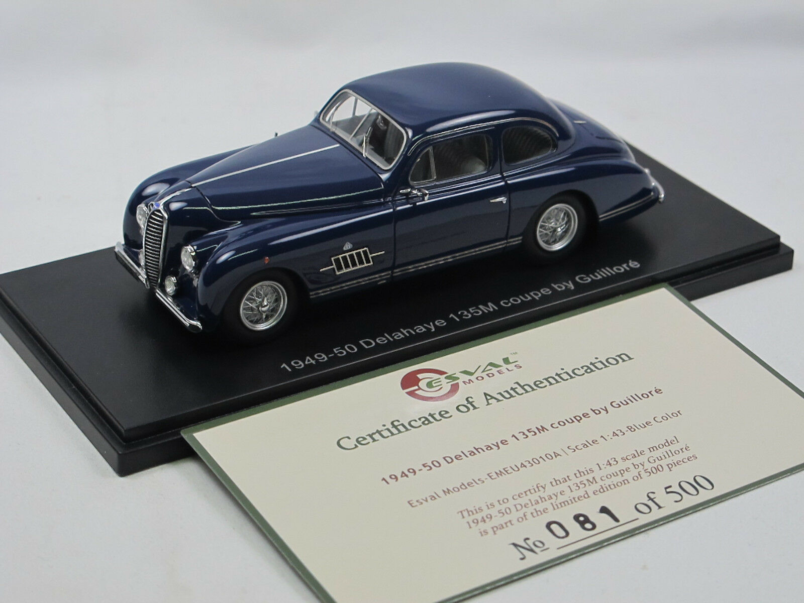 ESVAL MODELS 1949 Delahaye 135M Coupe by Guillore Blau Limited Edition 1 43 NEU  | Haltbarkeit