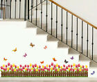 Tulip Butterfly Wall Border Decal Removable Windows Stickers Kids Nursery Decor