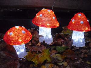 Merxx 3er set led pilze innen und au en dekoration garten beleuchtung ce ip44 ebay - Dekoration pilze ...