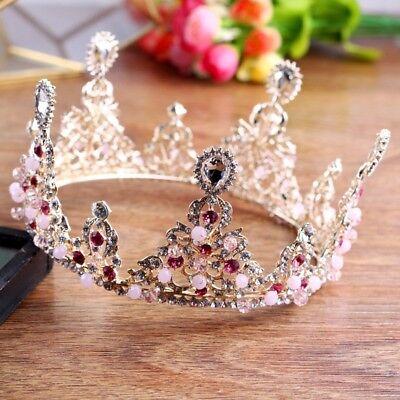 7cm High Drip Pink Crystal Beads Gold Tiara Crown Bridal Wedding Prom Pageant