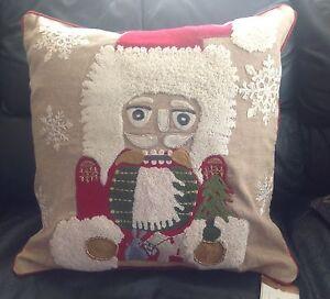 Pottery Barn Nutcracker Crewel Embroidered Pillow Cover