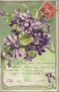 Details About Cpa Happy Birthday Bouquet Of Flowers In Relief Gauffree Written 1908 Be Show Original Title