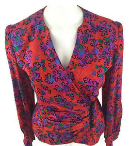 Raul-Blanco-Vintage-80s-Abstract-Bright-Floral-Print-Silk-Blouse-Top-Size-8