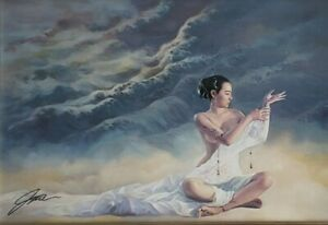Signed JIA LU - WATER - Lithograph Framed Contemporary Oriental Asian Art Print