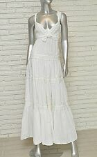 White Cotton Dress Bohemian Boho Hippie Festival Beach Spring Summer Maxi L