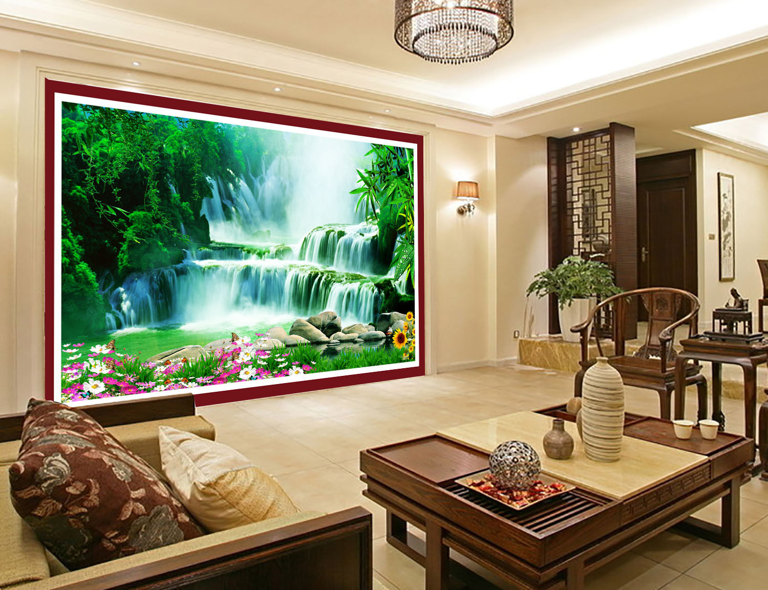3D Bamboo Forest Waterfall Paper Wall Print Wall Decal Wall Deco Indoor Murals