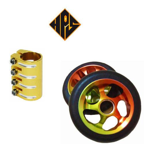 HPS STUNT ABEC SCOOTER SET 2 110mm GOLD RASTA CORE WHEELS ABEC STUNT 11 BEARINGS QUAD CLAMP 00245a
