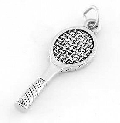 STERLING SILVER DOUBLE SIDED TENNIS RACKET CHARM//PENDANT