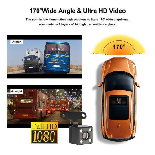 "AGPtek 4/"" Car Dash Cam FHD 1080P Front+Rear Dashboard Camera 170° DVR Recorder"