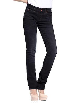 Womens Black Denim Regular Size Jeans Straight Leg Pants Dark Wash Size 0-14