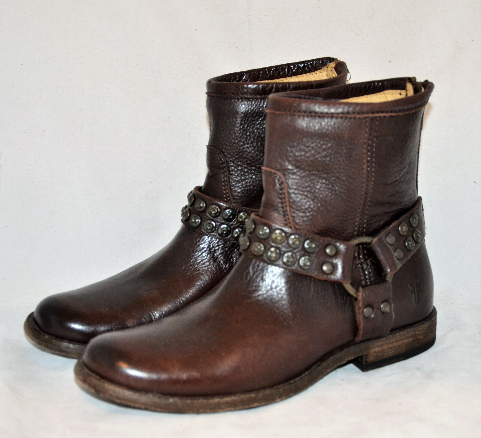 318 Frye Phillip Studded Harness Soft Vintage Leather Boots Dark Brown New 5.5