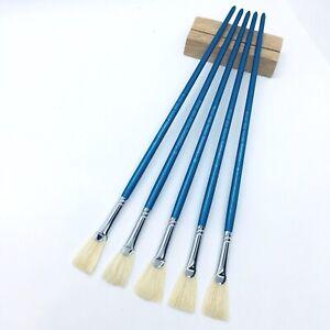 XDT#656 Fishtail Fan Artist Paint Art Brush 5pc Bristle Oil Acrylic Watercolor