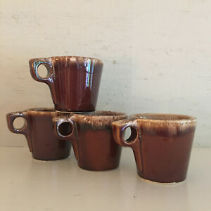Set-of-4-vintage-Hull-Pottery-brown-drip-glaze-O-handle-coffee-mugs-cups
