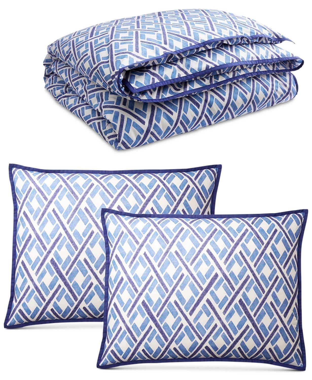 NEW  Ralph Lauren JENSEN Collection Duvet Cover KING SIZE 3 Pc SET blueeee  White