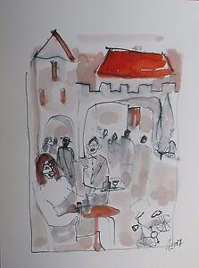 Zeichnung-Cafe-Akademiekuenstler-bei-Sackenheim-zu-Beuys-Zeit-Duesseldorf-Tusche