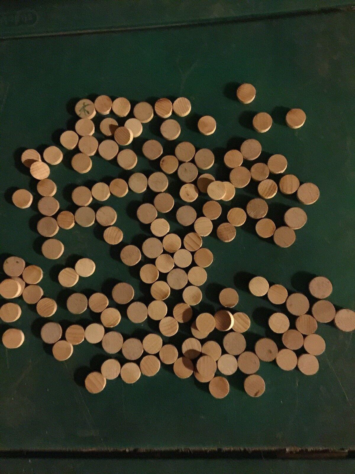 Vintage 1930s Blank Wooden Wood Bingo Calling Wood Wooden Number 1OO + Pieces d42ee6