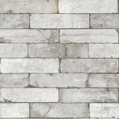 RASCH FACTORY STONE PATTERN BRICK WALL FAUX EFFECT TEXTURED MURAL WALLPAPER GREY