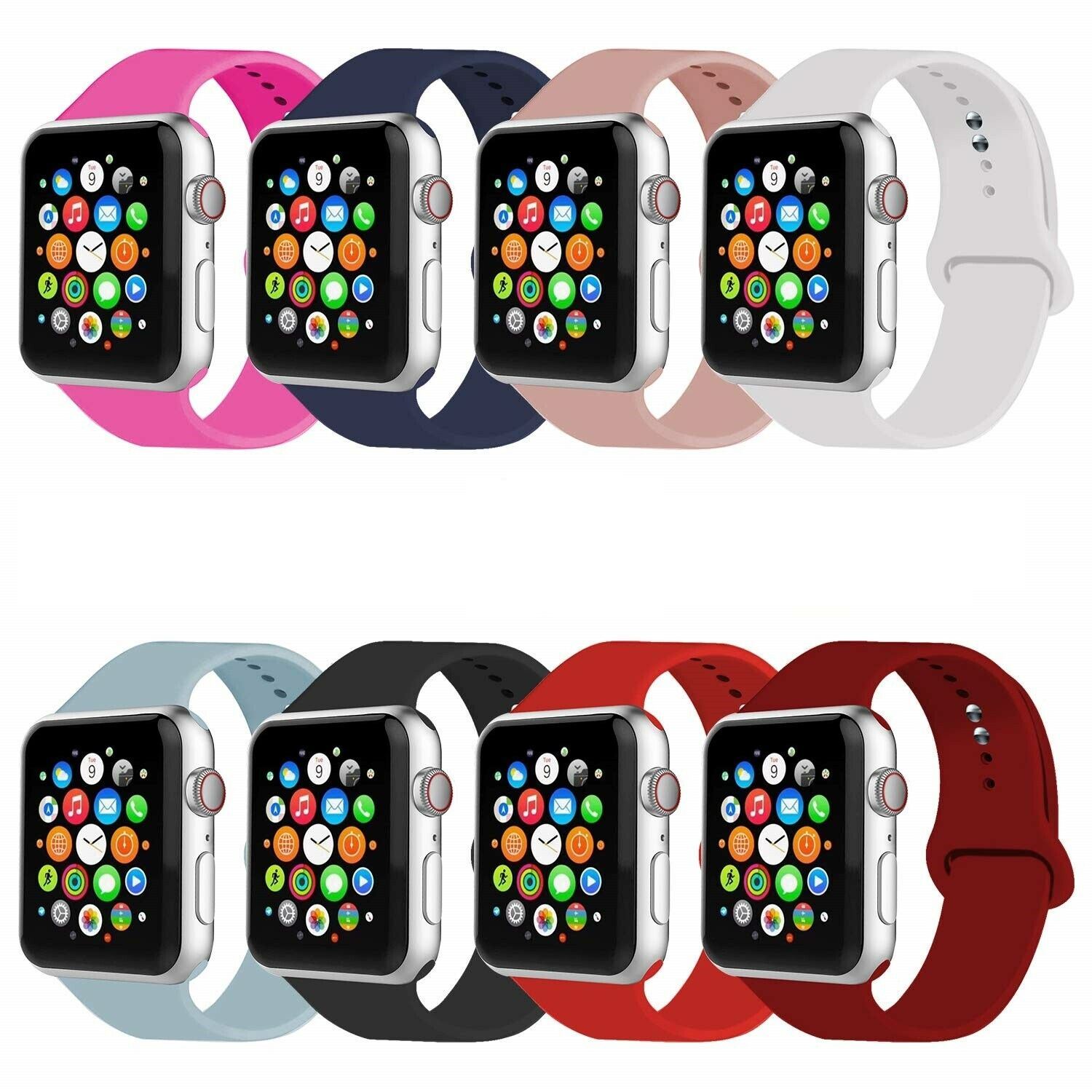 Silicone iWatch Sport Band Strap for A pple Watch Series 5 4