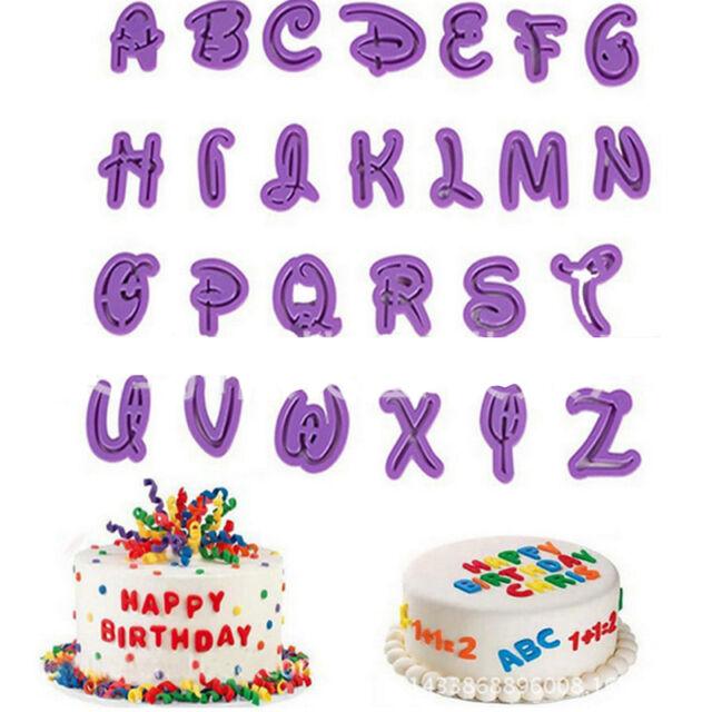 26Pcs Set Alphabet Number Letter Fondant Cake Cookie Cutter Pan Mold Biscuit JH