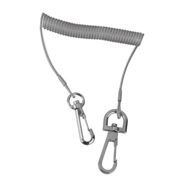 63inch 33lb Stainless Steel Wire Coiled Lanyard Safety Rope For Fishing//Outdoor