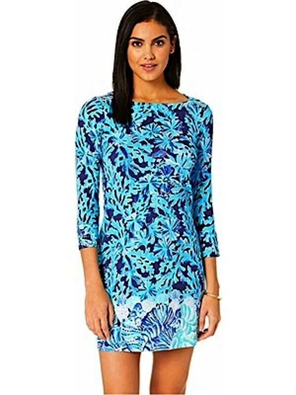 NWT LILLY PULITZER UPF 50+ SOPHIE DRESS BRIGHT NAVY IN TOO DEEP ENGINEERED S