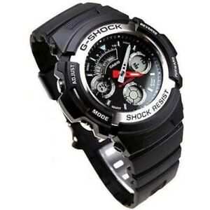 79ea8f6f1b9d CASIO G-SHOCK AW-590-1A AW590 Black Resin MAN S World Time Alarms ...