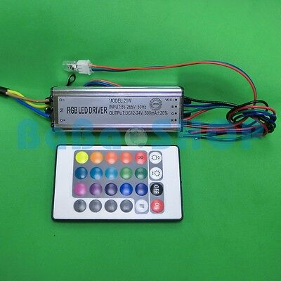 20W RGB Waterproof AC Driver 85~265V Power Supply LED Lamp Light +Remote control