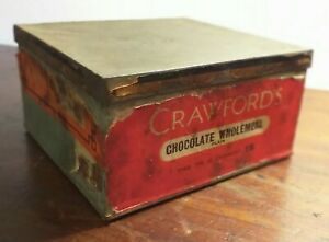 Collectable-Vintage-c1950-039-s-Crawfords-Chocolate-Wholemeal-Biscuit-Tin