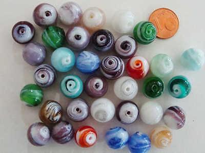48 Perles 8mm verre style Millefiori Fleurs mix couleurs DIY création bijoux