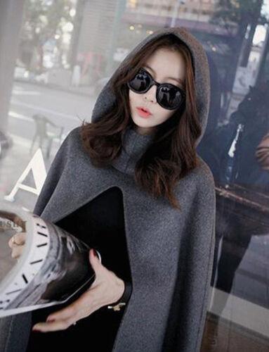 Women Winter Warm Coat Jacket Cape Parka Ladies Loose Batwing Wool Poncho Cloak