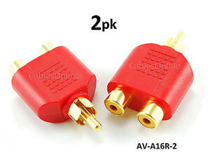 2-PACK RCA Male Plug to 2-RCA Female Jack Audio Video Splitter Red Adapter