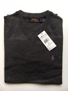 Ralph Lauren Uomo Manica Medium Grigio Sweater Jumper Cotton Taglia lunga Rrp wUPd5qPx