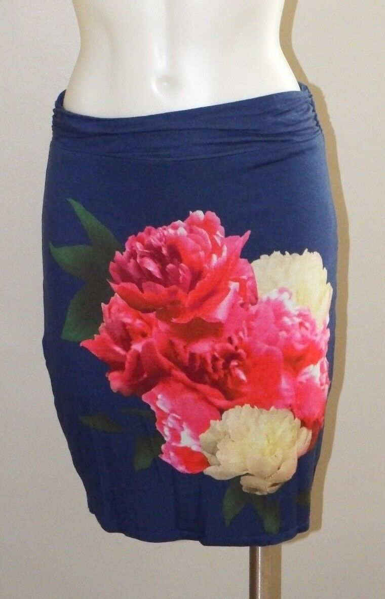 Skirt L Large Chelsea & purple Floral Knit Stretch bluee Above Knee