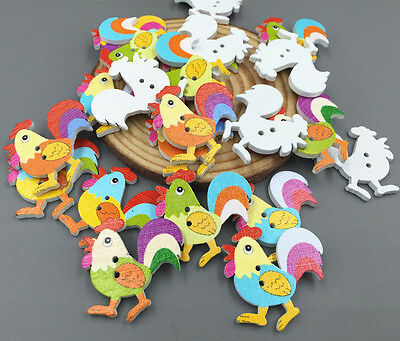 Cartoon rooster chickens Wooden Buttons sewing scrapbooking decoration 31mm