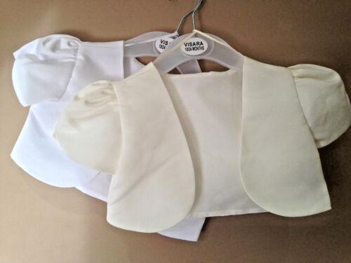 BABY GIRLS SATIN SHORT SLEEVED BOLERO,WHITE//IVORY,CHRISTENING,WEDDING,SHRUG