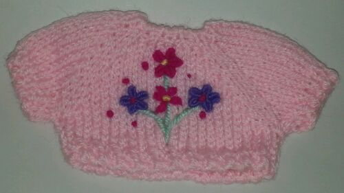 Pastel pink and Flowers Small Knit Teddy Bear or doll Sweater Clothing Clothes