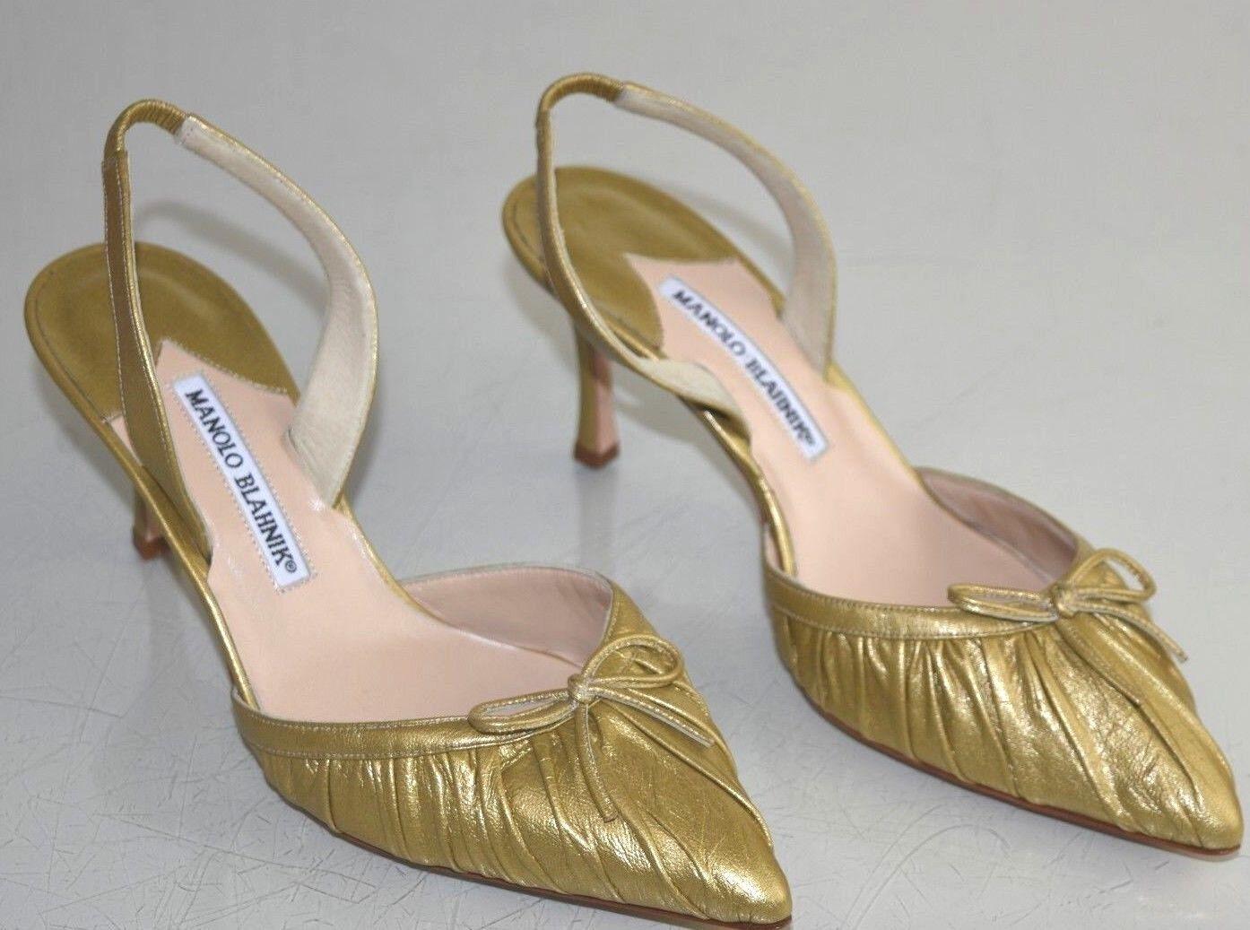 New Manolo Blahnik RAGANGISLI 70 Carolyne Pump Leather Halter gold Bow shoes 37